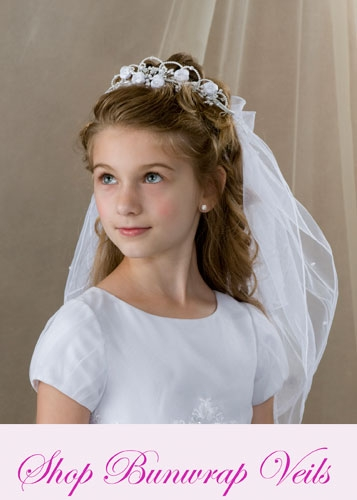 First Communion Bun wrap Veils
