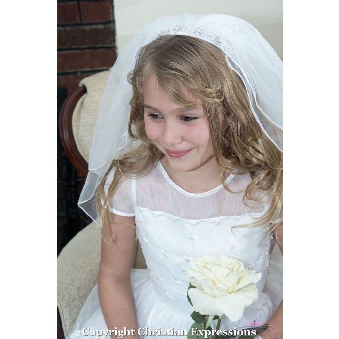 First Communion Headband Veil with Rhinestones and Pearls
