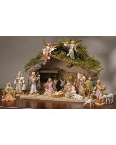 "16PC Fontanini Nativity Set 5"" Figurines with Italian Stable"