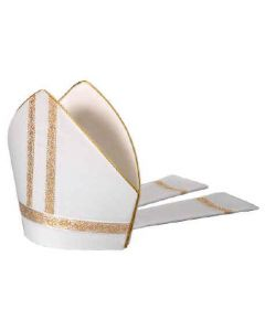 White with Gold Galloon Bishop Mitre