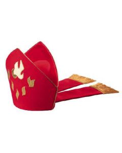 Red with Dove and Flames Bishop Mitre