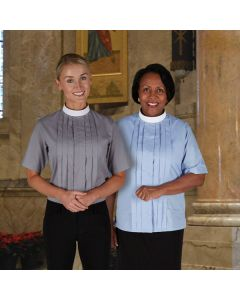 Women's Neckband Clergy Blouse - Short Sleeve