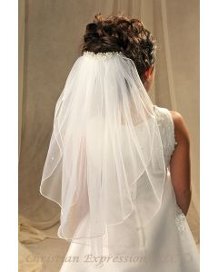 First Communion Veil with Crystals Clip Veil
