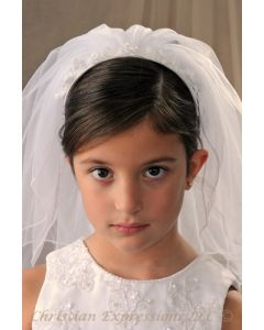First Communion Headband Veil with Organza Bows and Pearls