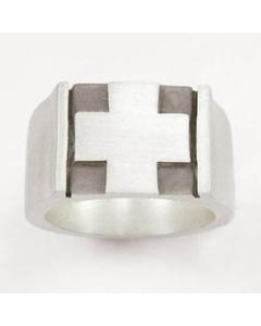 Big Square Cross Sterling Silver Mens Christian Ring