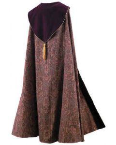 Full Tapestry Clergy Cope with Maroon Velvet Hood