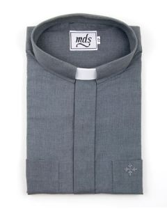 Tab Collar SHORT SLEEVE Shirt Grey