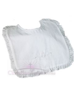 Cotton Embroidered Christening Bib with Ruffles