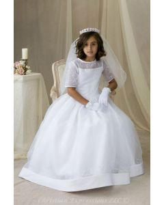 Long Length Satin and Organza First Communion Dress with Embroidered Accents