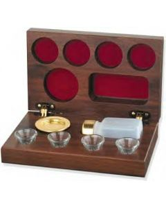 Walnut Portable Deluxe 5 Cup Communion Set
