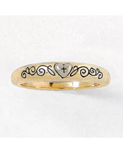 Two-Tone Vine and Heart Ladies' 14Kt Gold Christian Ring