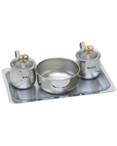 Stainless Steel Church Cruet Set with Tray