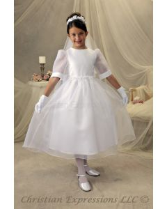Organza First Communion Dress with Rosettes
