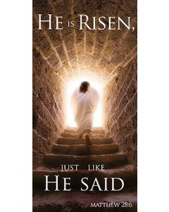 He Is Risen Canvas Church Banner