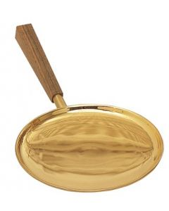 Gold Plated Communion Paten with Walnut Handle