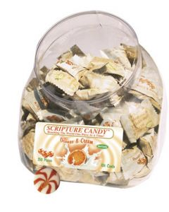 Orange & Cream Scripture Candy Jar