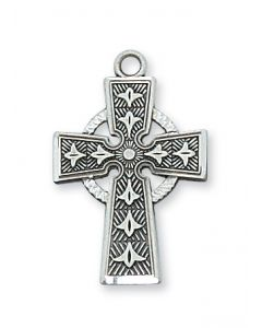 Satin Silver Pewter Celtic Cross w/chain