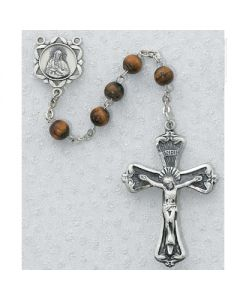 Tiger Eye Rosary Beads 6mm Pewter or Sterling Silver