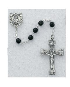 Black Onyx Rosary Beads 5mm Pewter or Sterling SIlver