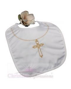 Christening Bib With Large Gold Cross