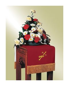 Reversible Flower Stand Cover Red/White Symbols