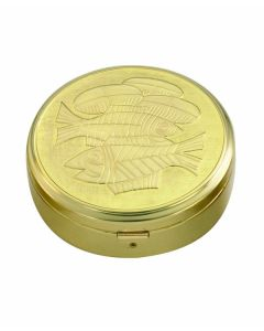 Communion Pyx with Enamel Loaves and Fishes 45 Cap