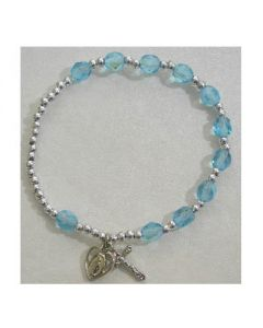 Birthstone-March Rosary Bracelet