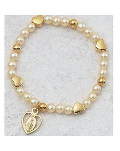 GLD HEART/PEARL BABY BRACELET