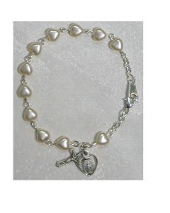 Pearl Hearts Youth Rosary Bracelet