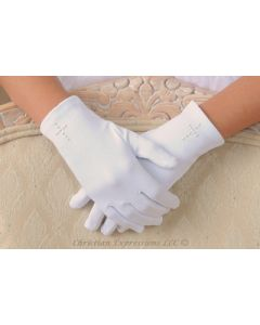 Pearl Cross Satin Gloves