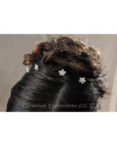 First Communion Hairpins w/Rhinestone Flowers