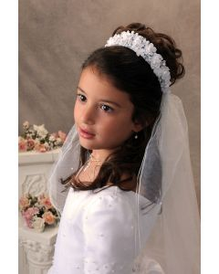 First Communion Veil with Crown Headpiece with Satin Flowers