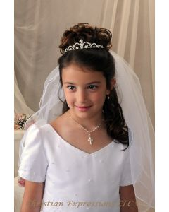 First Communion Rhinestone Tiara with Scallop Design