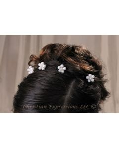 First Communion Hairpins w/Pearl Flowers