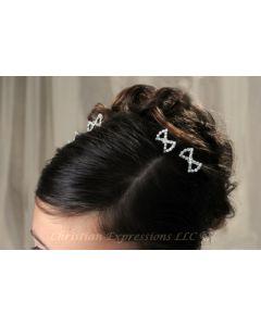 First Communion Hairpins w/Rhinestone Bow