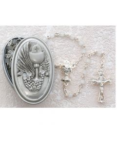 PEWTER GIFT BOX WITH WHITE COMMUNION ROSARY