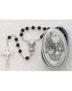 PEWTER GIFT BOX WITH BLACK GLASS COMMUNION ROSARY