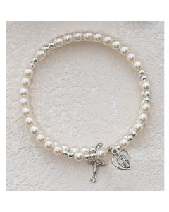 First Communion Rosary Bracelet - Pearl Full Wrap Around w/Rhodium Miraculous
