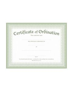Ordination Certificate - Premium, Green Foil Embossed