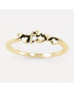 Tiny cross & hearts-14k Gold Ladies Christian Ring