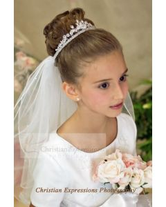Olivia First Communion Crown Veil