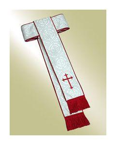 White Damascene Clergy Cincture with Latin Cross