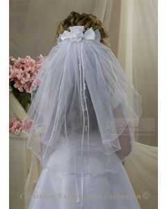 First Communion Clip Veil with Streamers and Large Satin Rosette