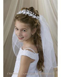 First Communion Veil with Semi Loops and Pearls