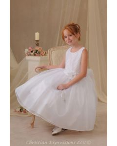 First Communion Dress with Shantung Bodice and Organza Skirt