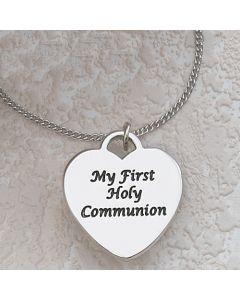 "Communion ENGRAVABLE HEART ON 16"" CHAIN"