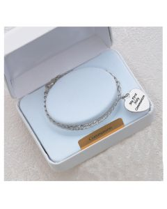 Communion RHODIUM BRACELET WITH STERLING ENGRAVABLE HEART CH