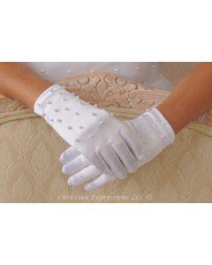 Satin Gloves w/Pearls