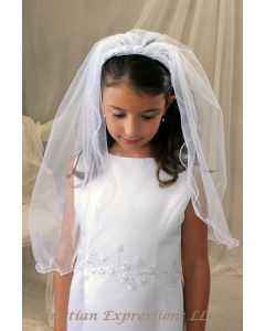 First Communion Headband Veil with Rosettes