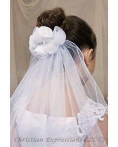 First Communion Clip Veil with Organza and Satin Rosebuds